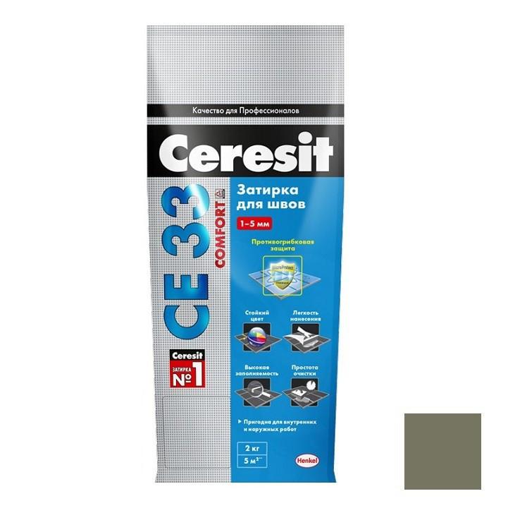 Затирка цементная для узких швов Ceresit СЕ33 Comfort Оливковая 2 кг