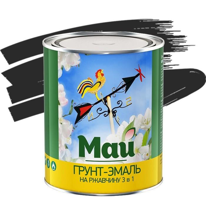 Грунт-эмаль по ржавчине Май 3 в 1 черная 1,9 кг