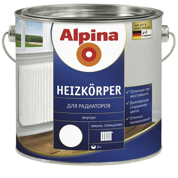 Эмаль термостойкая Alpina Heizkorper для радиаторов белая 0,5 л