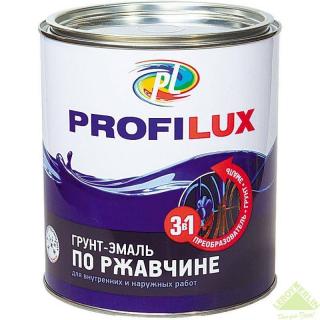 Грунт-эмаль по ржавчине 3 в 1 PROFILUX 0,9кг черный глянец